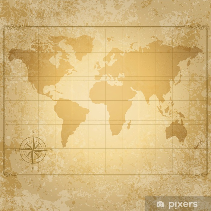 Póster Vendimia vector mapa del mundo con brújula - Temas