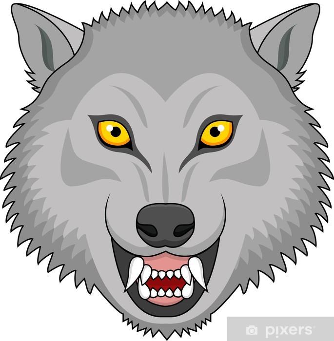 Vinilo Pixerstick Tatuaje De La Cabeza Del Lobo Enojado Pixers