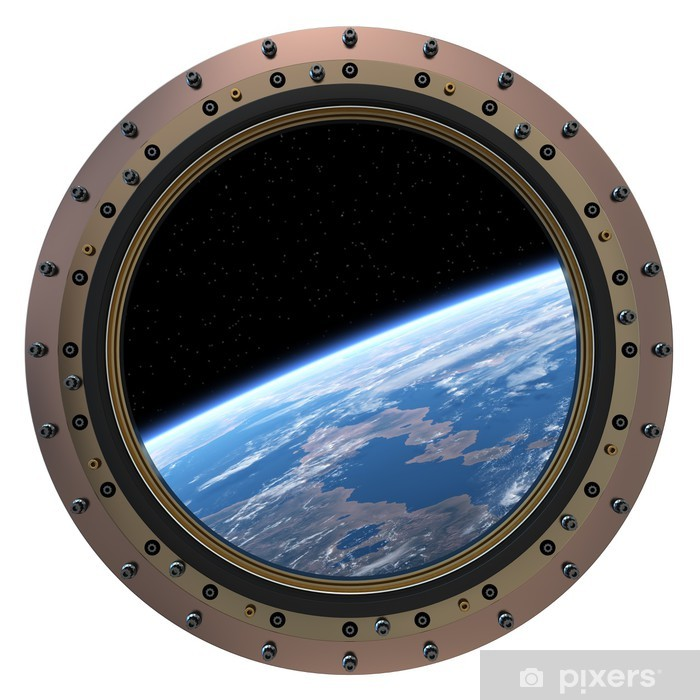 Space Station Porthole. Pixerstick Sticker - Outer Space