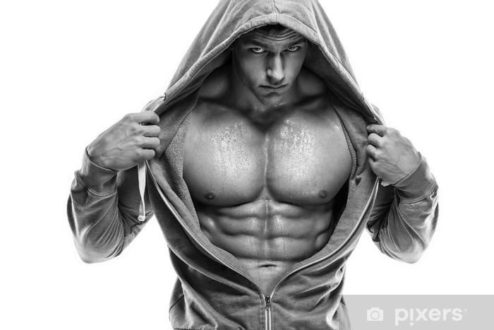 Fototapeta winylowa Silny Mężczyzna Athletic Fitness Model tułowia pokazano sześć Pack ABS. jest -