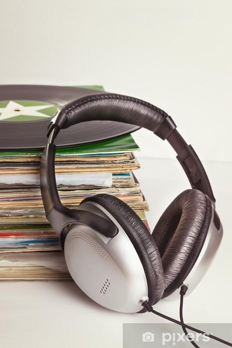 Naklejka Pixerstick Gramofonowe i słuchawki. - Muzyka