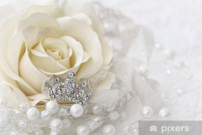Sticker Pixerstick Couleur crème rose avec couronne ornée de bijoux - Thèmes