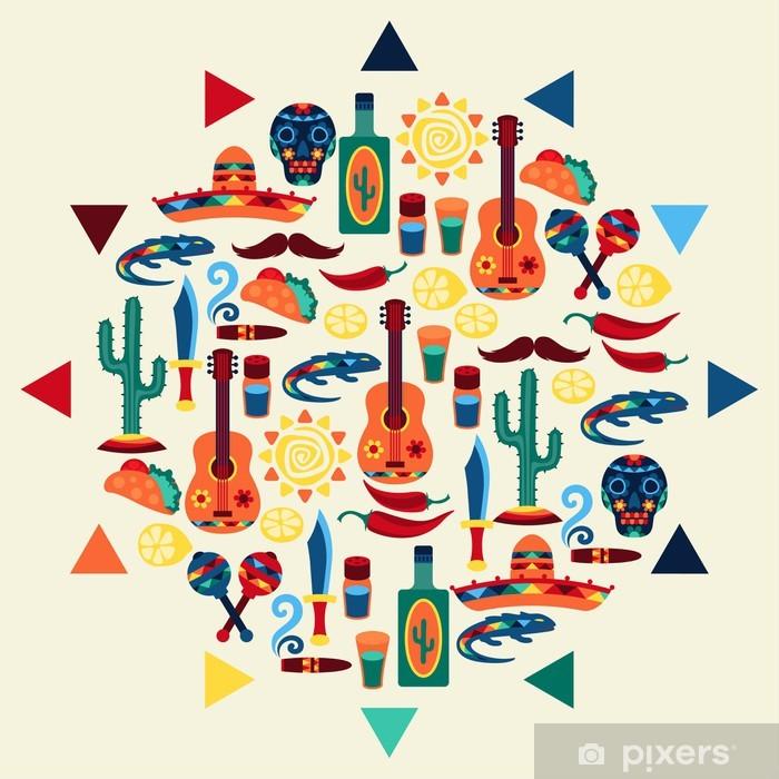 Ethnic mexican background design in native style. Pixerstick Sticker - America