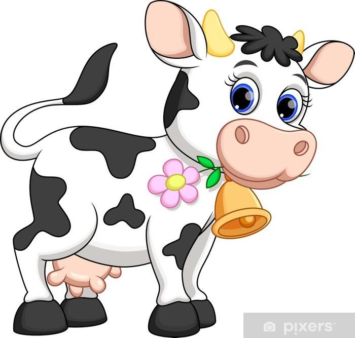 Aufkleber Lustige Kuh-Karikatur • Pixers® - Wir leben, um