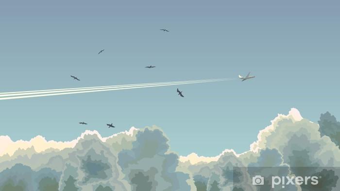 Afwasbaar Fotobehang Horizontale afbeelding van vlak onder de wolken. - Thema's