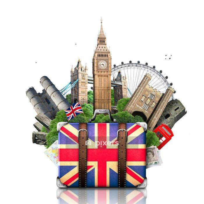 Adesivo da Parete Inghilterra, punti di riferimento britannici, viaggi e retro valigia - Città europee