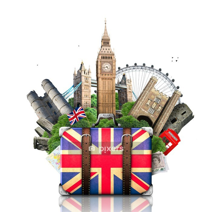 England, British landmarks, travel and retro suitcase Wall Decal - European Cities