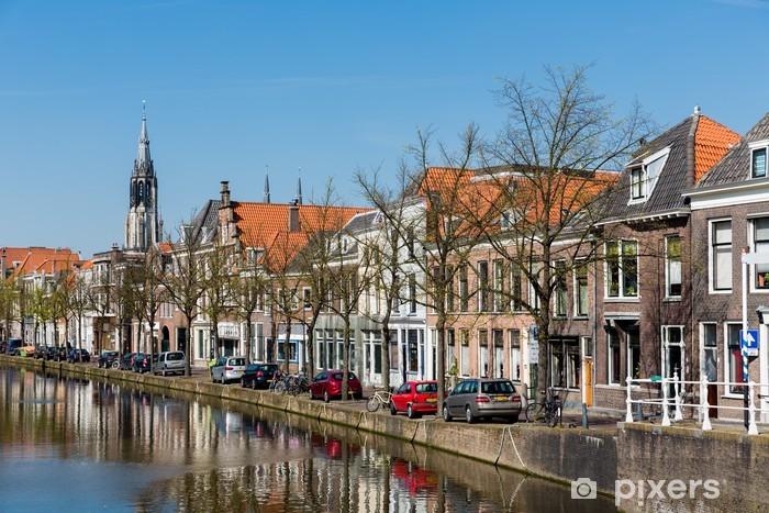 Papier peint vinyle Paysage de Delft avec des maisons historiques, les Pays-Bas - Europe