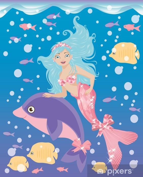 Sticker Pixerstick Petite fille de sirène et le dauphin, illustration vectorielle - Animaux imaginaires