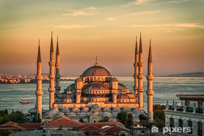 Blue mosque in Istanbul - sunset Pixerstick Sticker - The Middle East