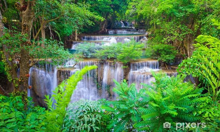 Syvä metsän vesiputous kanchanaburi, thaimaa Vinyyli valokuvatapetti -