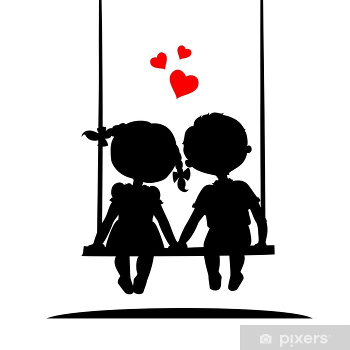 da99e7dbde8160 Sticker Silhouetten van een jongen en meisje • Pixers® - We leven om ...