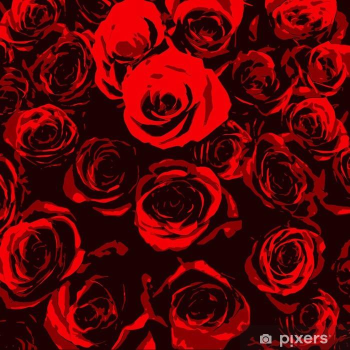 Carta Da Parati Rose Rosse Stilizzati Su Sfondo Nero Pixers