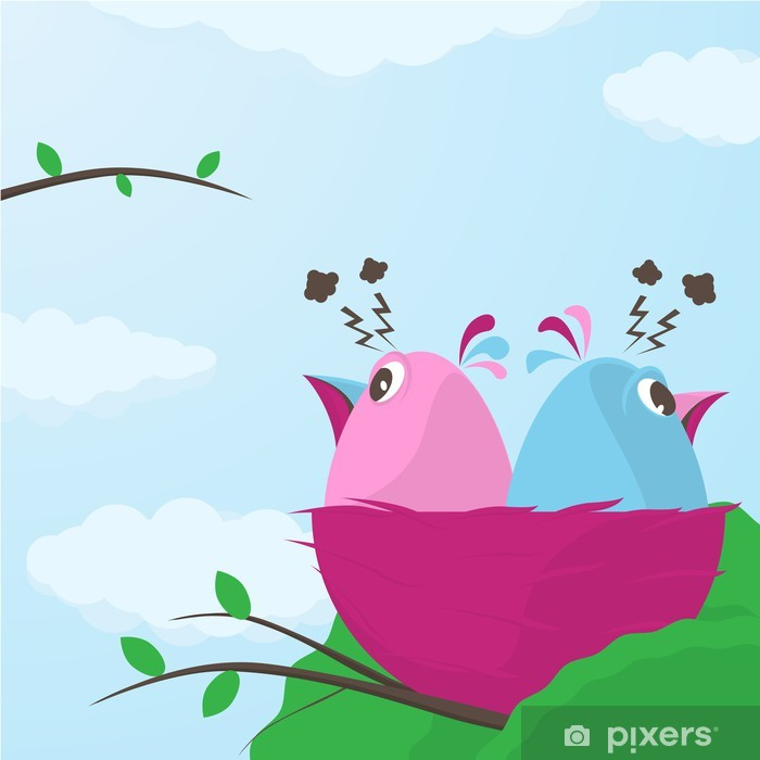 Papier peint vinyle Deux petits oiseaux mignons ayant un désaccord - Oiseaux