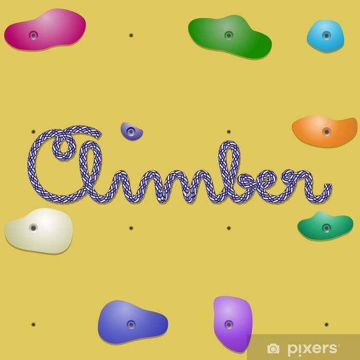 Poster Grimpeur mot écrit avec une corde sur un mur d'escalade - Articles de sport