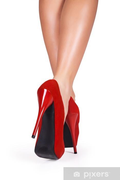 6ea51522308221 Pixerstick Aufkleber Frau Beine tragen rote high heels isoliert auf weißem  Hintergrund. - Themen