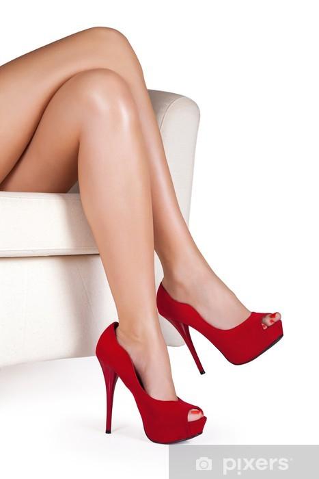 Reino Unido comprar el más nuevo Precio pagable Vinilo Piernas de mujer con tacones altos rojos sobre fondo blanco.  Pixerstick