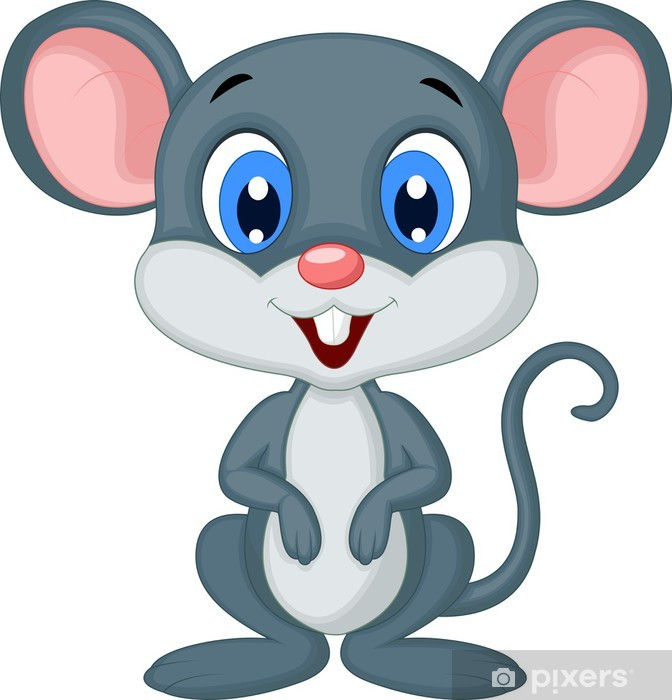 Cute mouse cartoon Wall Mural • Pixers® • We live to change