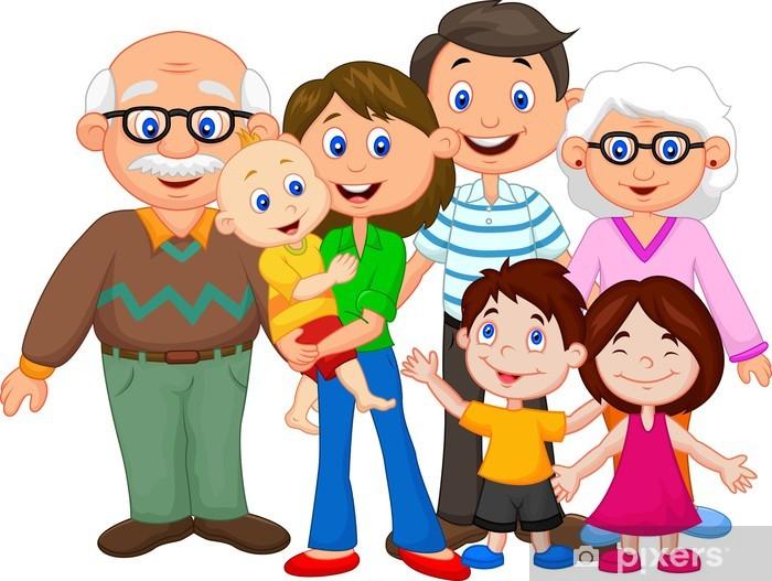 Fototapeta winylowa Happy Family Cartoon - Wartości rodzinne