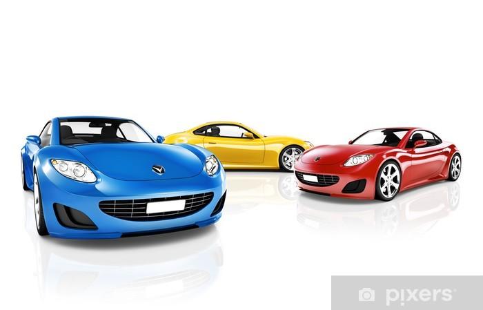 Nálepka Pixerstick Sbírka 3D sportovních vozů - Na cestě