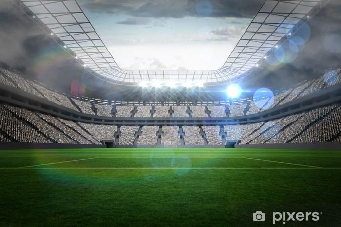 Vinyl Fotobehang Groot voetbalstadion met verlichting - iStaging