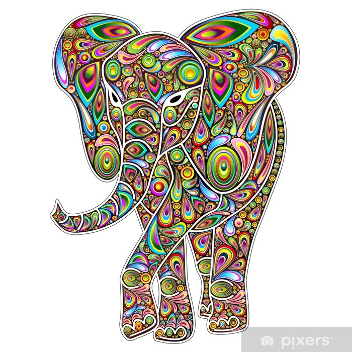 Elephant Psychedelic Pop Art Design on White Vinyl Wall Mural - Wall decals