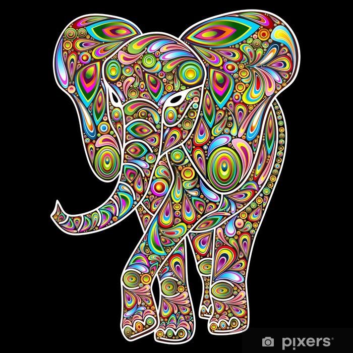 Elephant Psychedelic Pop Art Design on Black Vinyl Wall Mural - Styles