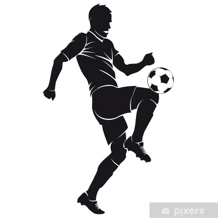 Fensteraufkleber Vector Fussball Fussball Spieler Silhouette Mit Ball Isoliert