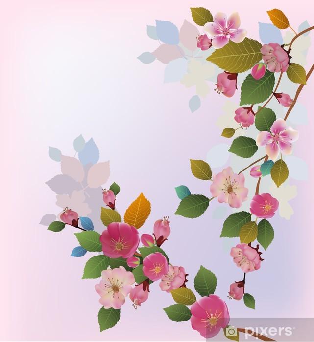 Naklejka Pixerstick Sakura, wiosna, widokówki. - Pory roku