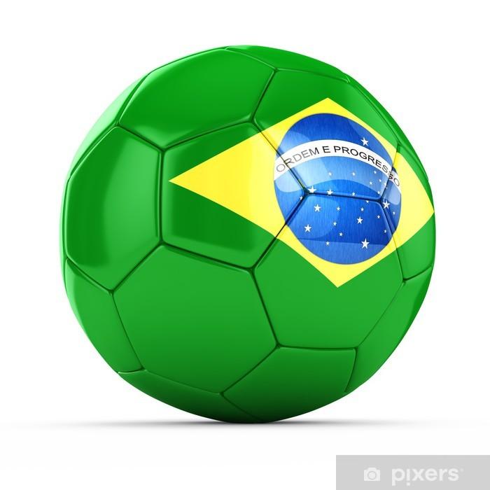 9a9a0bd0515b4 Fotomural Balón de fútbol 3D con la bandera de Brasil • Pixers ...