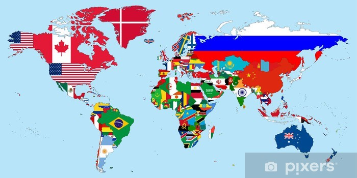 Illustration Of The Countries National Flags On The World Map Wall
