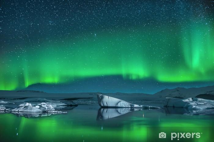 Icebergs under Northern Lights Pixerstick Sticker - Norway