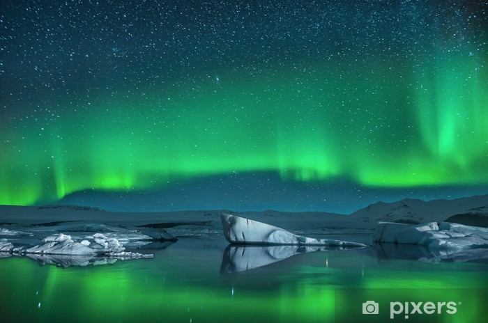 Icebergs under Northern Lights Washable Wall Mural - Norway