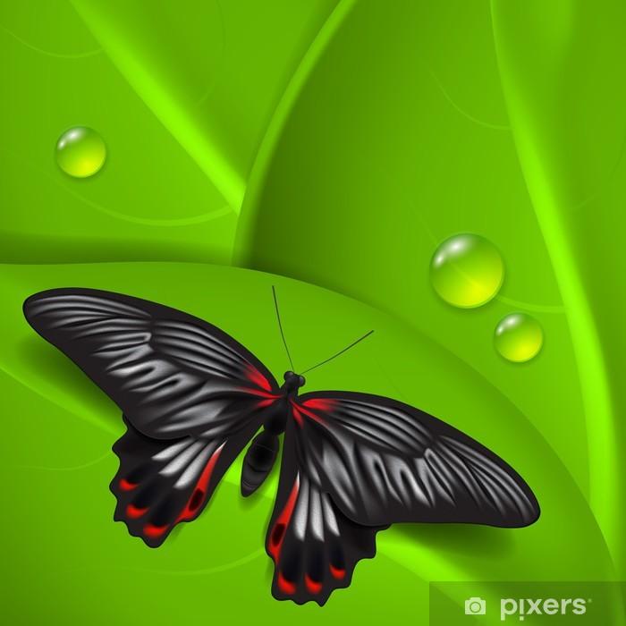 Sticker Pixerstick Fond vert avec papillon et de la rosée - Autres Autres