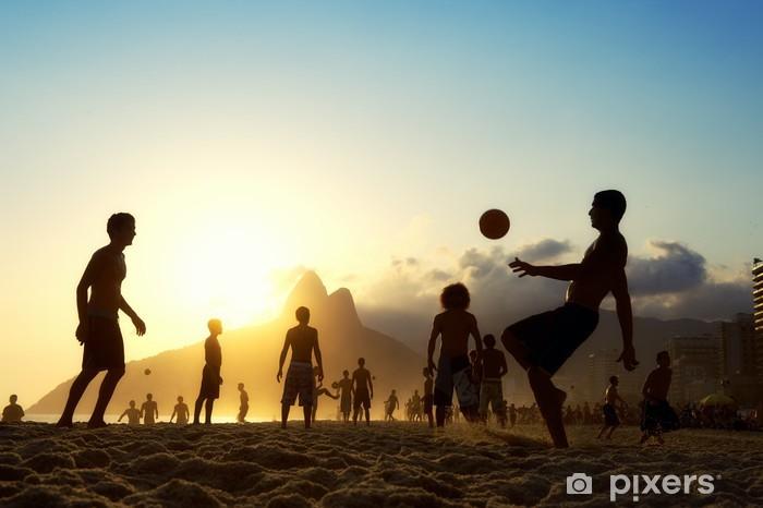 Vinyl Fotobehang Zonsondergang Silhouetten Spelen Altinho Futebol Beach Voetbal Brazilië - Brazilië