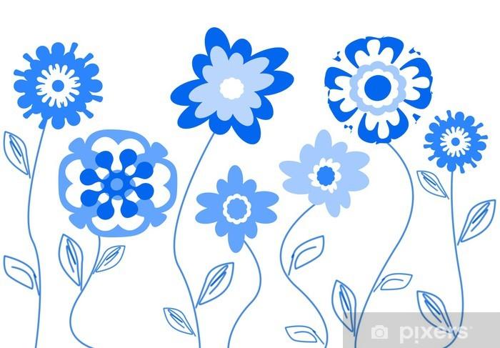 Fiori Stilizzati.Fiori Stilizzati Blu Wall Mural Pixers We Live To Change