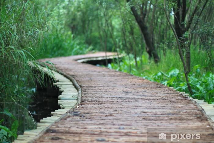 The wood bridge at xixi wetland hangzhou china Pixerstick Sticker - Holidays