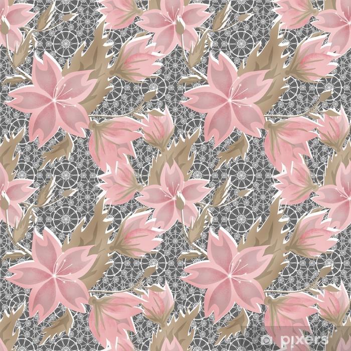 Naklejka Pixerstick Bez szwu kwiatowy wzór koronki biały na szarym - Tła
