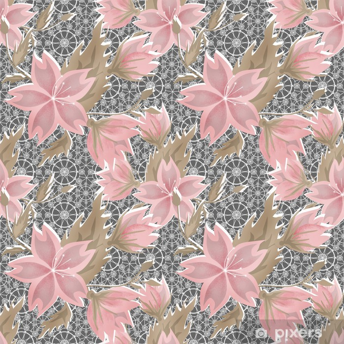 Seamless floral white lace pattern on grey Pixerstick Sticker - Backgrounds