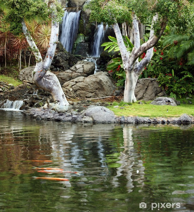 Waterfall and koi pond in japanese garden Pixerstick Sticker - Themes