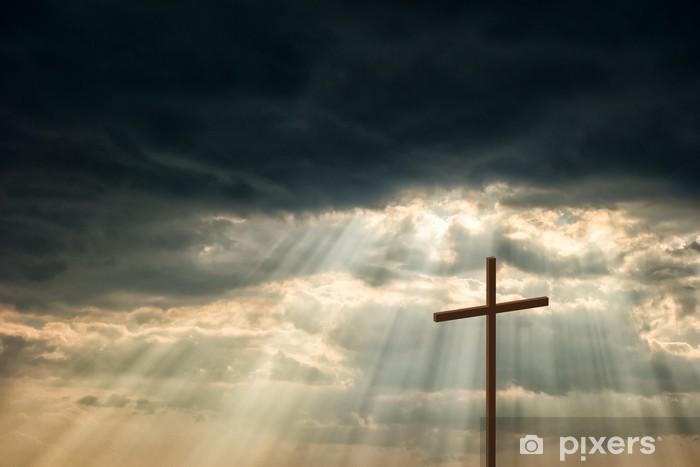 Fototapeta winylowa Drewniany krzyż - Wielkanoc