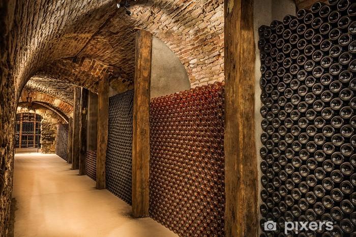 Sticker Pixerstick Cave à vin, une rangée de bouteilles de champagne - Styles