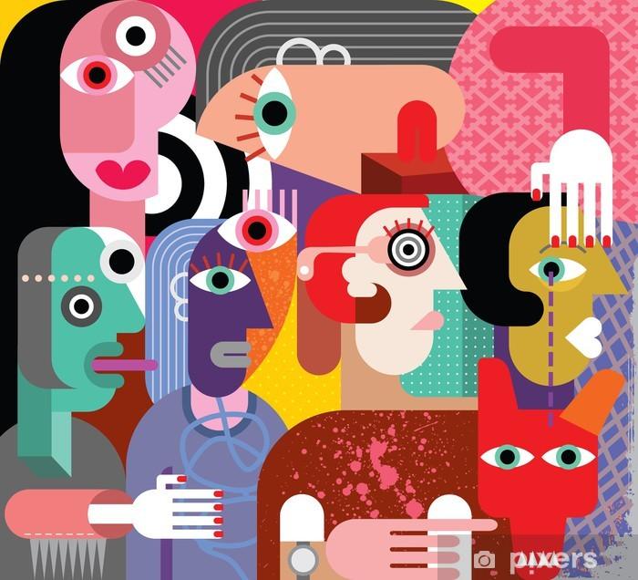 Papier peint vinyle Six femmes et chien - Thèmes