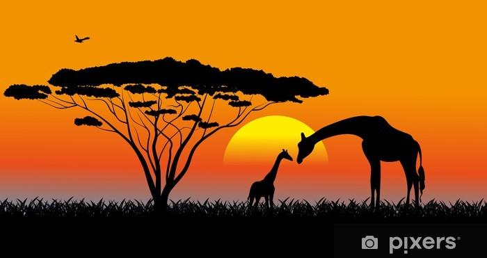 Fototapeta winylowa Afrykańskiej sawanny wieczorny krajobraz - Tematy