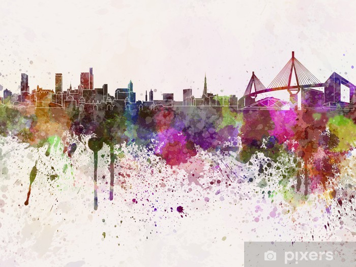 Hamburg skyline in watercolor background Pixerstick Sticker - iStaging