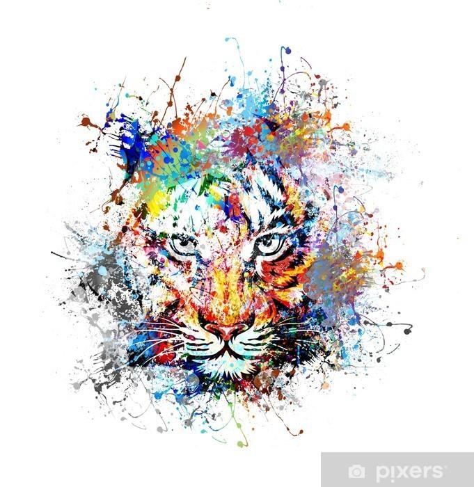 Dolap Çıkartması Яркий фон с тигром - Bilim ve doğa