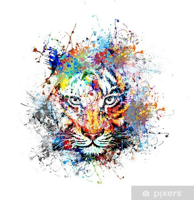 Sticker Pixerstick Fond clair avec le tigre - science &; nature