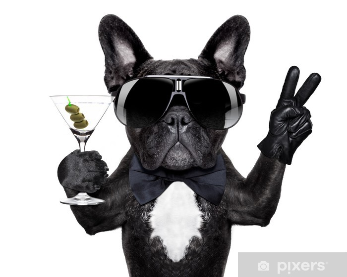 peace cocktail dog Vinyl Wall Mural - Wall decals