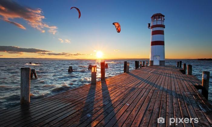 Carta da Parati in Vinile Faro al Lago di Neusiedl, al tramonto - Faro