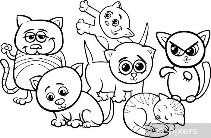 Fotobehang Vinyl Schattige Kittens Cartoon Kleurplaat